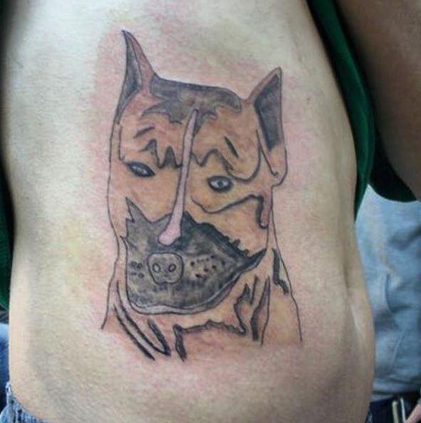 Dog Bad Tattoos Design On Right Ribs