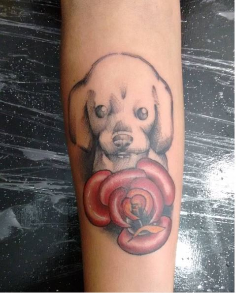 Dog Draw Tattoos Design On Arms