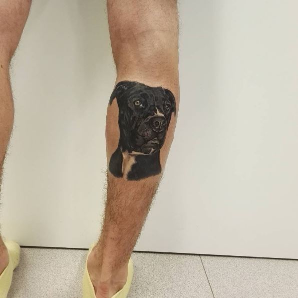 Dog Tattoos Design On Legs