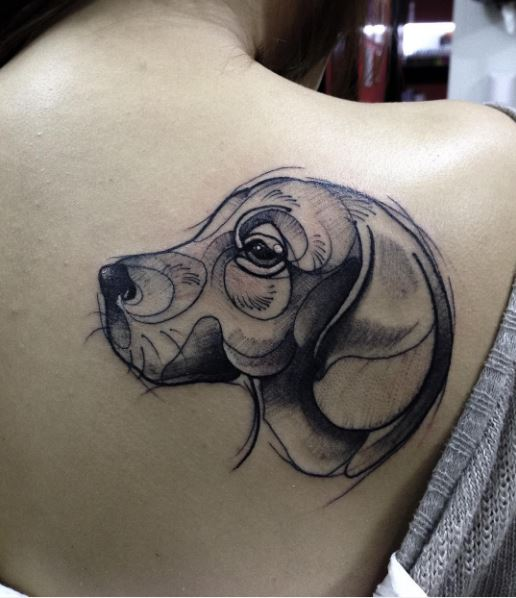 Dog Tattoos Design On Women Backside