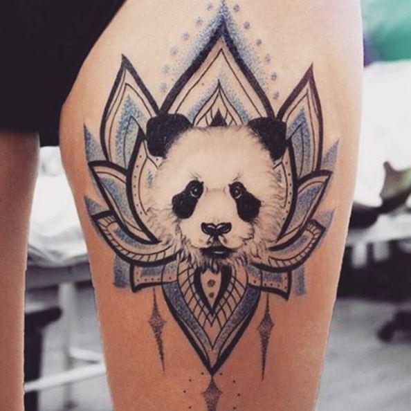 Flower And Panda Tattoos Design