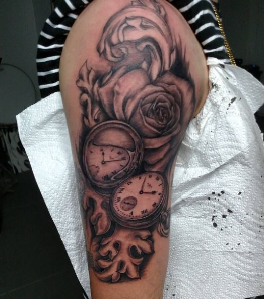 Flower And Pocket Watch Tattoos Design On Biceps