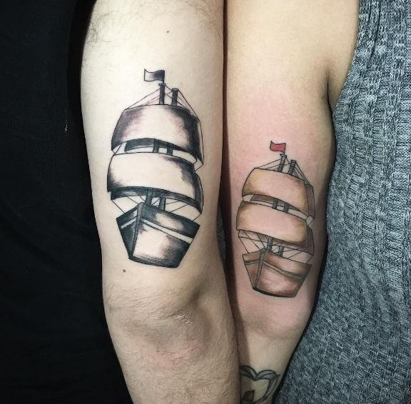 Friendship Ship Tattoos Design On Arms