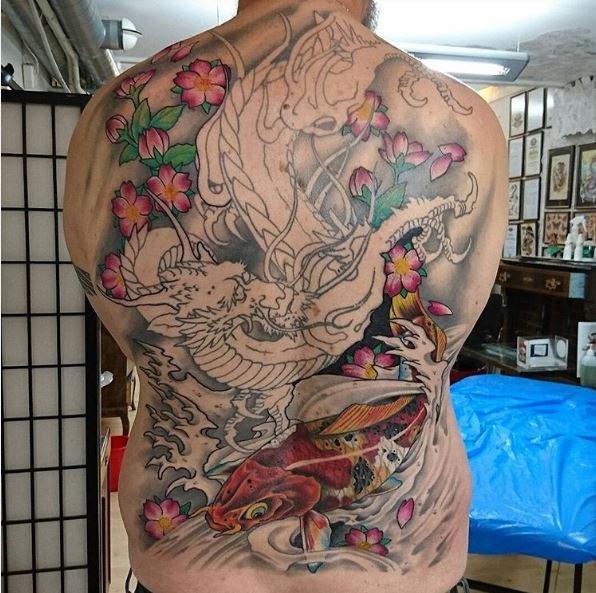 Full Back Dragon Tattoos Design For Men