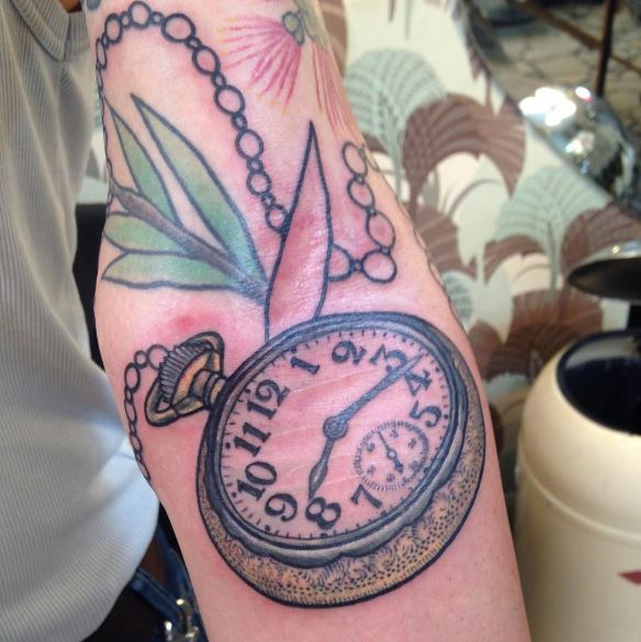 Full Size Pocket Watch Tattoos Design On Forearm