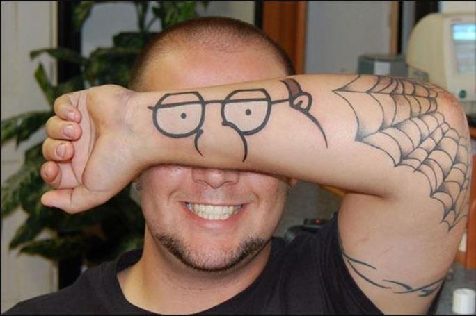 Funny Bad Goggels Tattoo On Hand