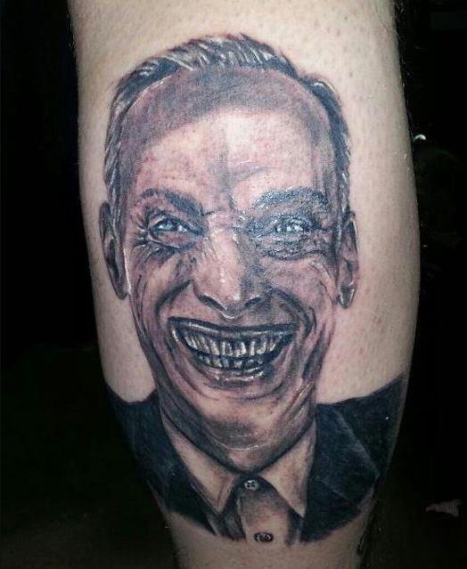Funny Bad Tattoo On Calf