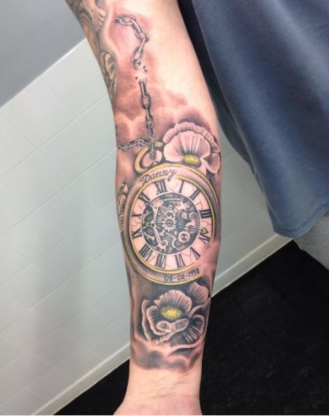 Glamorous Pocket Watch Tattoos Design On Hands