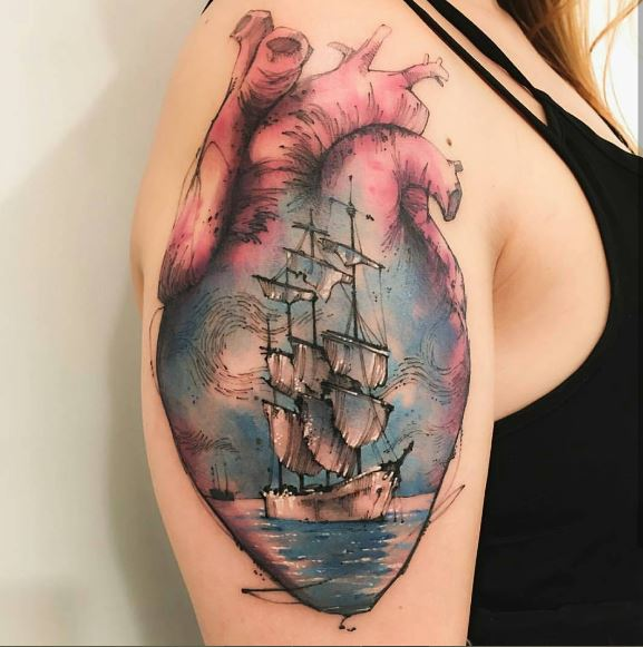 Heart And Ship Tattoos Design On Biceps