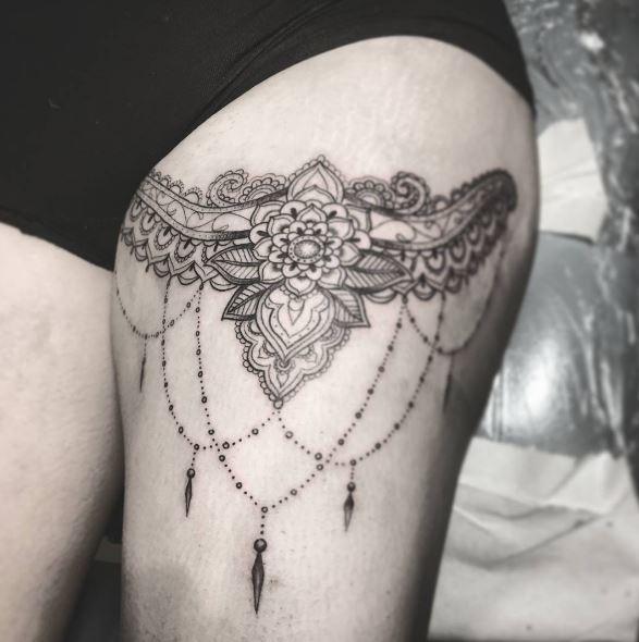 Intricate Black And Grey Designs Garter Tattoos