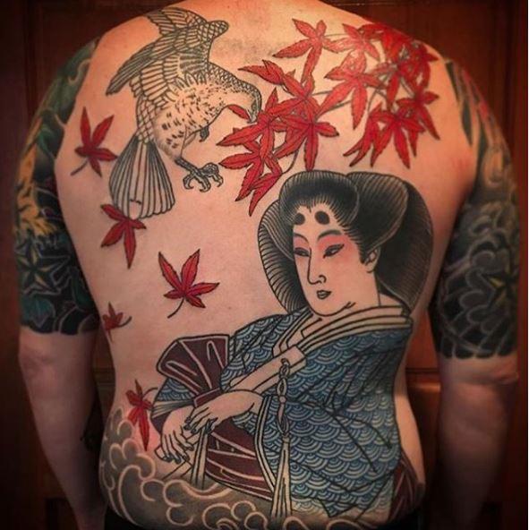 Japanes Full Back Tattoos Design