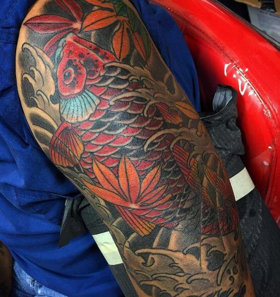 Koi Fish Tattoo On Arm 8