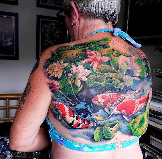 Koi Fish Tattoo On Back 1