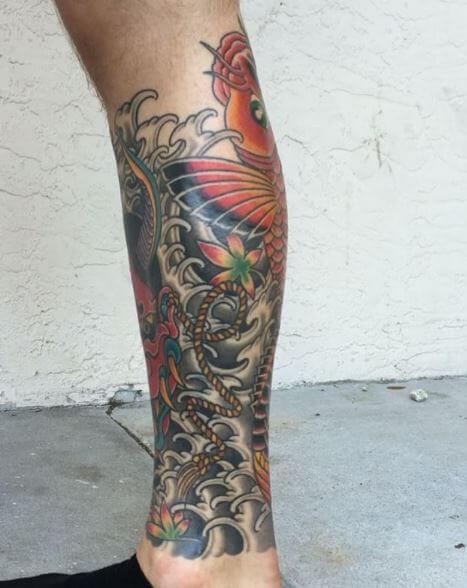 Koi Fish Tattoo On Leg 2