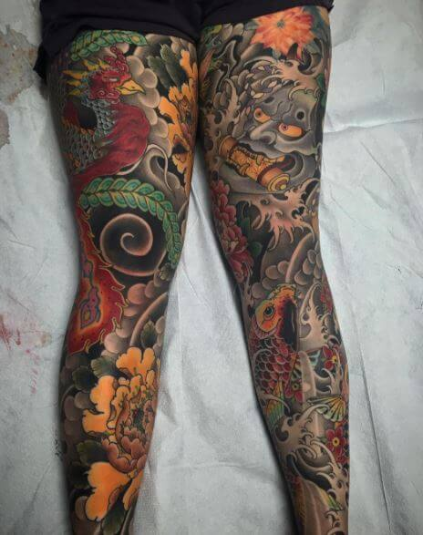 Koi Fish Tattoo On Leg 5