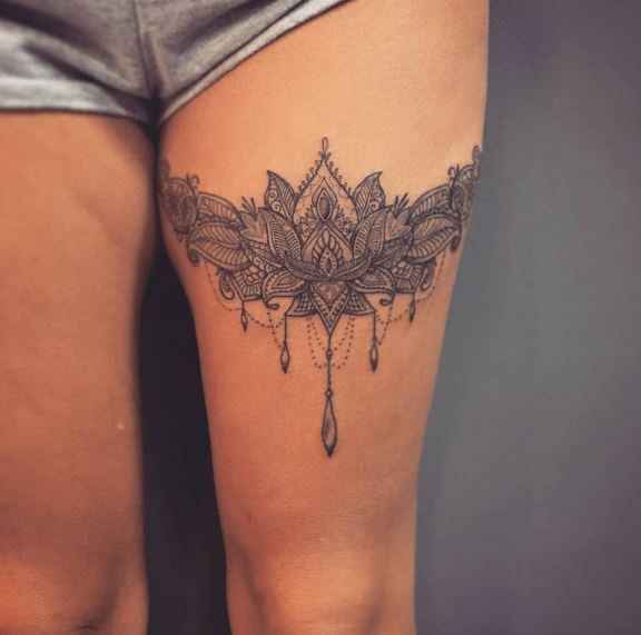 Liga Mandala Garter Tattoos Desig On Thigh