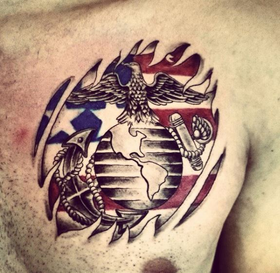 Lovely And Cute Marine Corps Tattoos Design