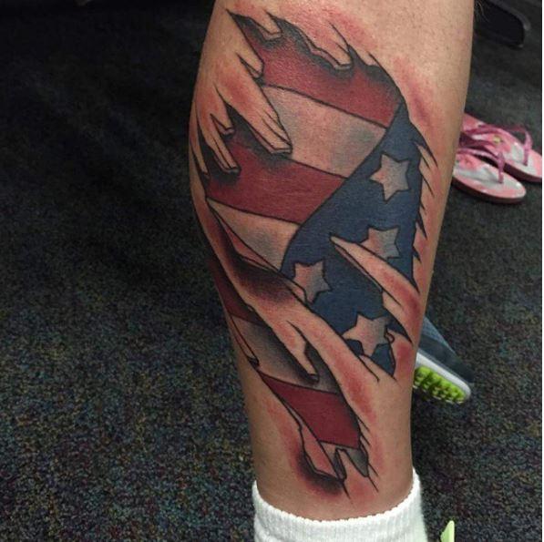 Marine Corps 3D Flag Tattoos Design On Legs