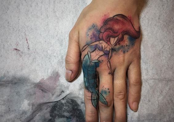 Mermaid Tattoo On Hand 1