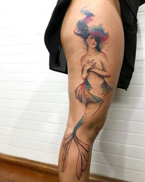 Mermaid Tattoo On Leg 13