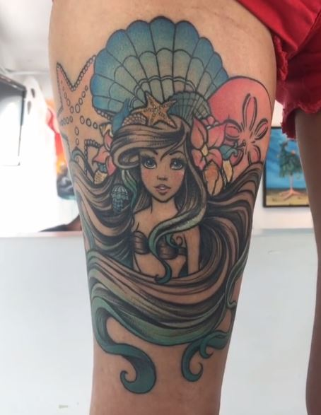 Mermaid Tattoo On Leg 5
