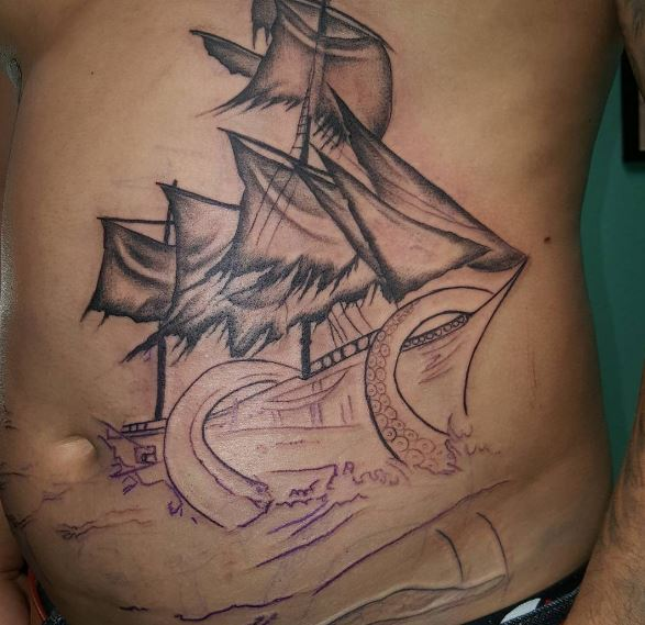 Monster Attack Ship Tattoos Design And Ideas