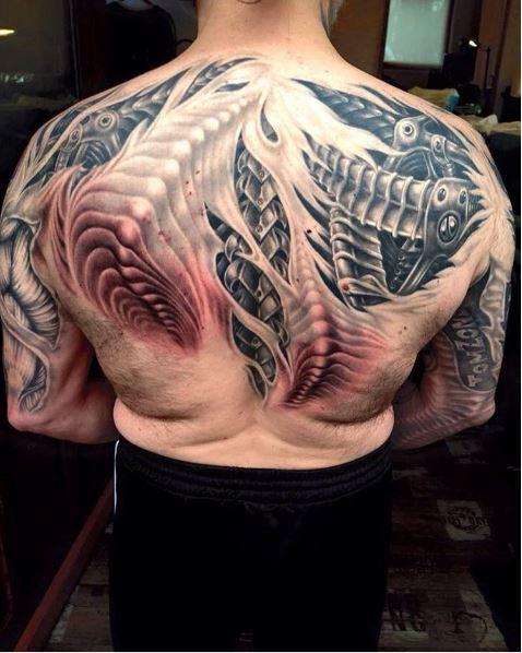 Monster Full Back Tattoos Design