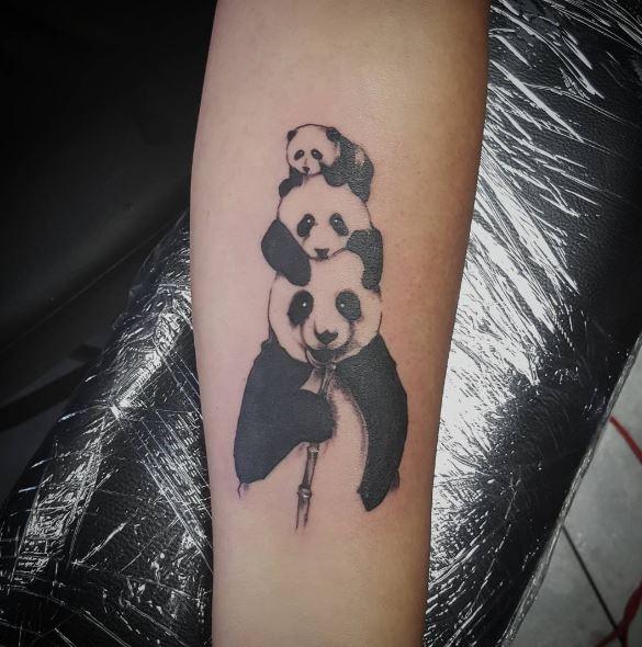 Most Beautiful Panda Tattoos Design On Arms
