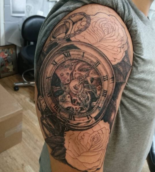 New Pocket Watch Tattoos Design And Ideas
