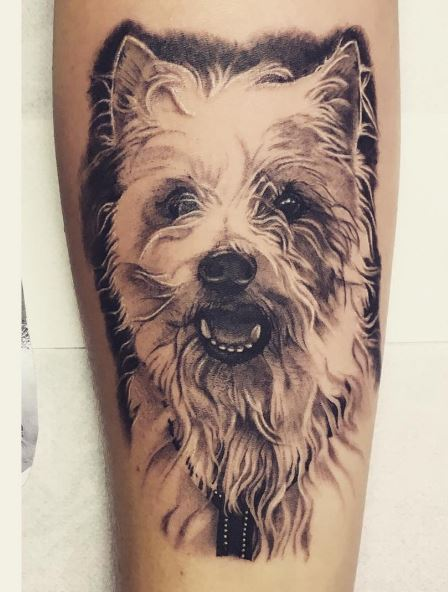 Nice Dog Tattoos Design On Legs
