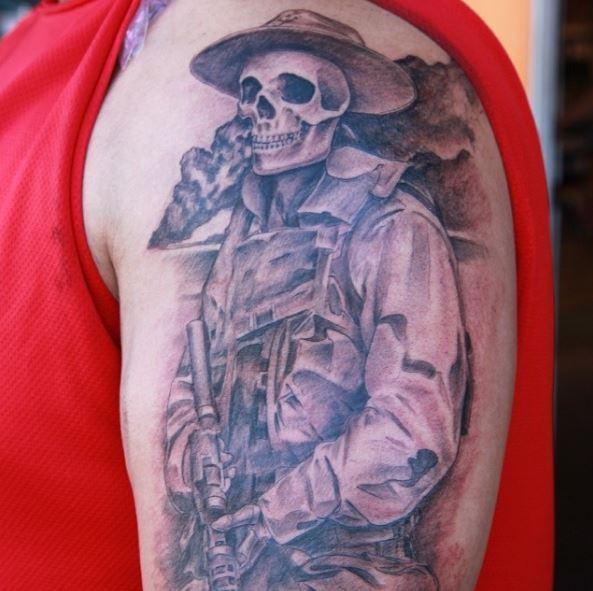 Nice Skull Marine Corps Tattoos Design