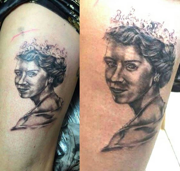 Old History Queen Tattoos Design On Thigh