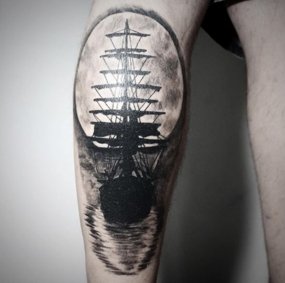 Old School Pirate Ship Tattoos