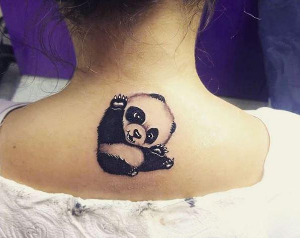 Panda Baby Tattoos Design For Women Backside