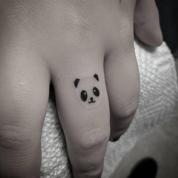 Panda Face Tattoos Design On Fingers