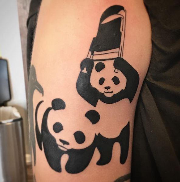 Panda Tattoos Design On Biceps