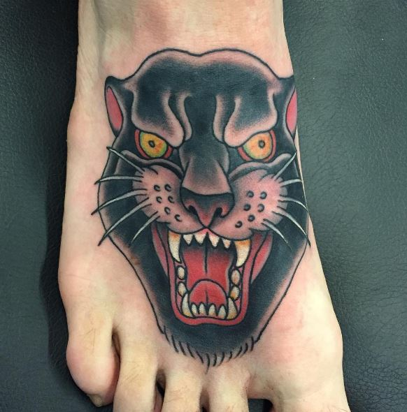 Panther Tattoo On Foot