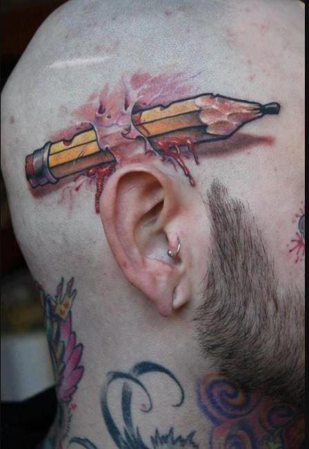 Pencil Bad Tattoo Design On Head
