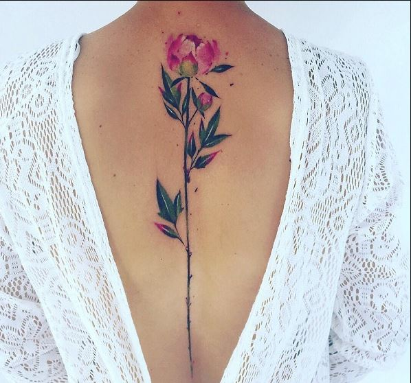 Pink Flower Spine Tattoos Design And Ideas