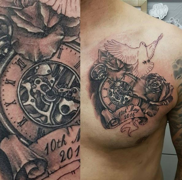 Pocket Watch Tattoos Design On Chest