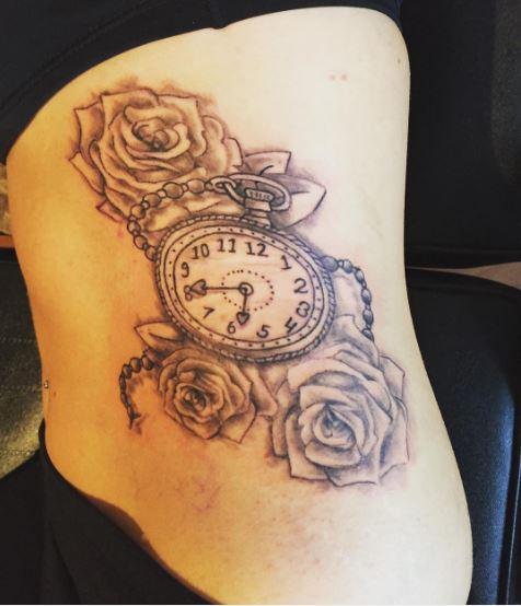 Pocket Watch Tattoos Design On Ribcage