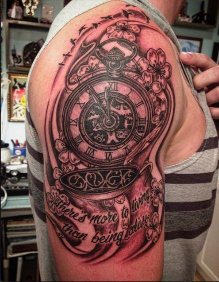 Pocket Watch Tattoos For Men