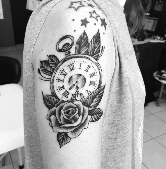 Pretty Pocket Tattoos Design On Biceps