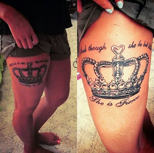 Queen Crown Tattoos Design On Thigh