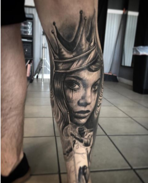 Queen Face Tattoos Design On Calf