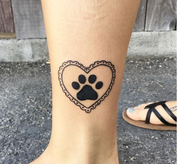 Simple Dog Foot Tattoos Design For Girls