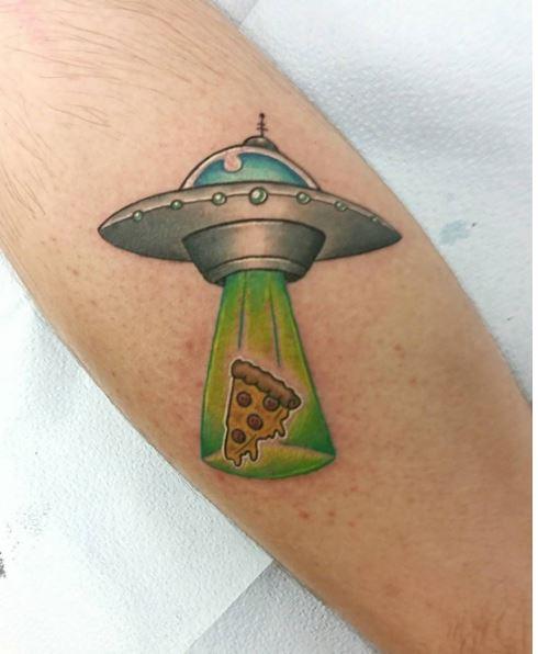 Small UFO Tattoos On Forearm
