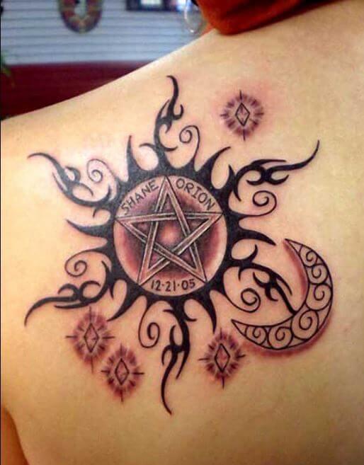 Sun Tattoos Design On Left Upper Back Shoulder