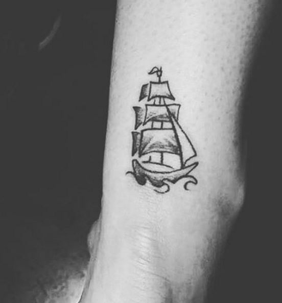 Tiny Ship Tattoos Design And Ideas