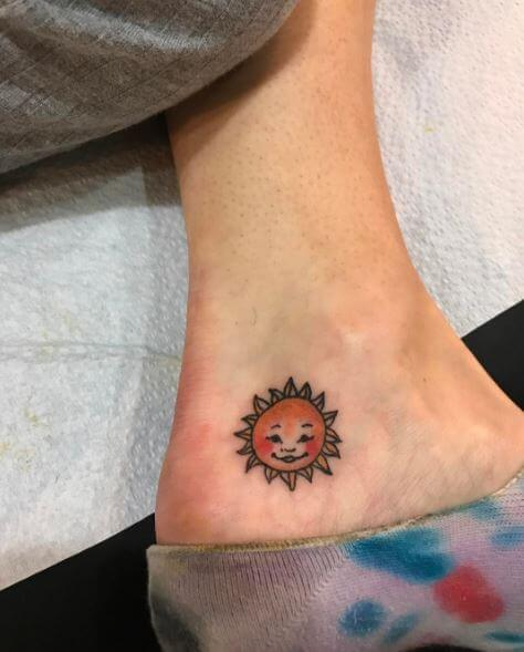 Tiny Sun Tattoos Design On Ankle